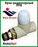Кран радиаторный регулировочный PPR 25*3/4 прямой BLUE OCEAN