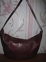 Бордовая натуральная кожаная сумка Pappagallo
