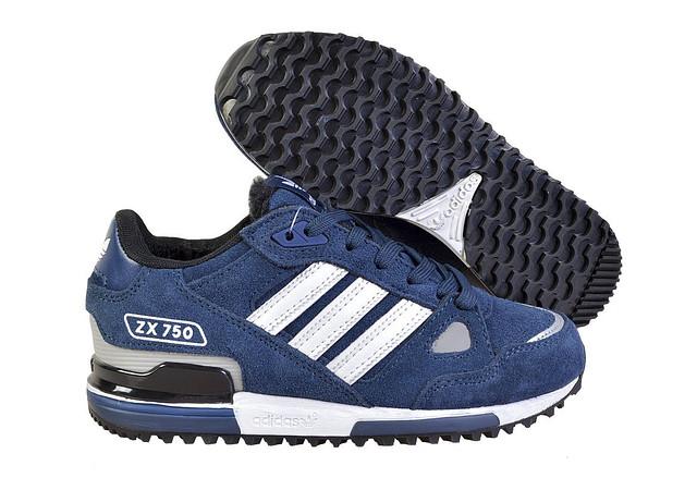 5c1a676c Зимние Кроссовки Adidas ZX 750 мужские с мехом синие с белым - Интернет  магазин обуви «