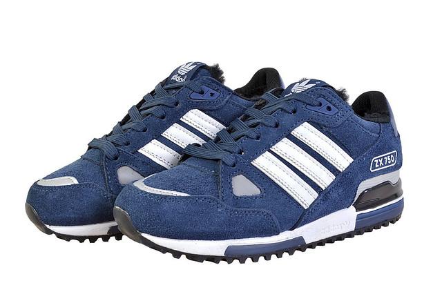 eecb4505 Кроссовки Adidas ZX 750 синие на меху для активного отдыха: продажа ...