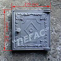 Дверка печная большая чугунная (270х285 мм)