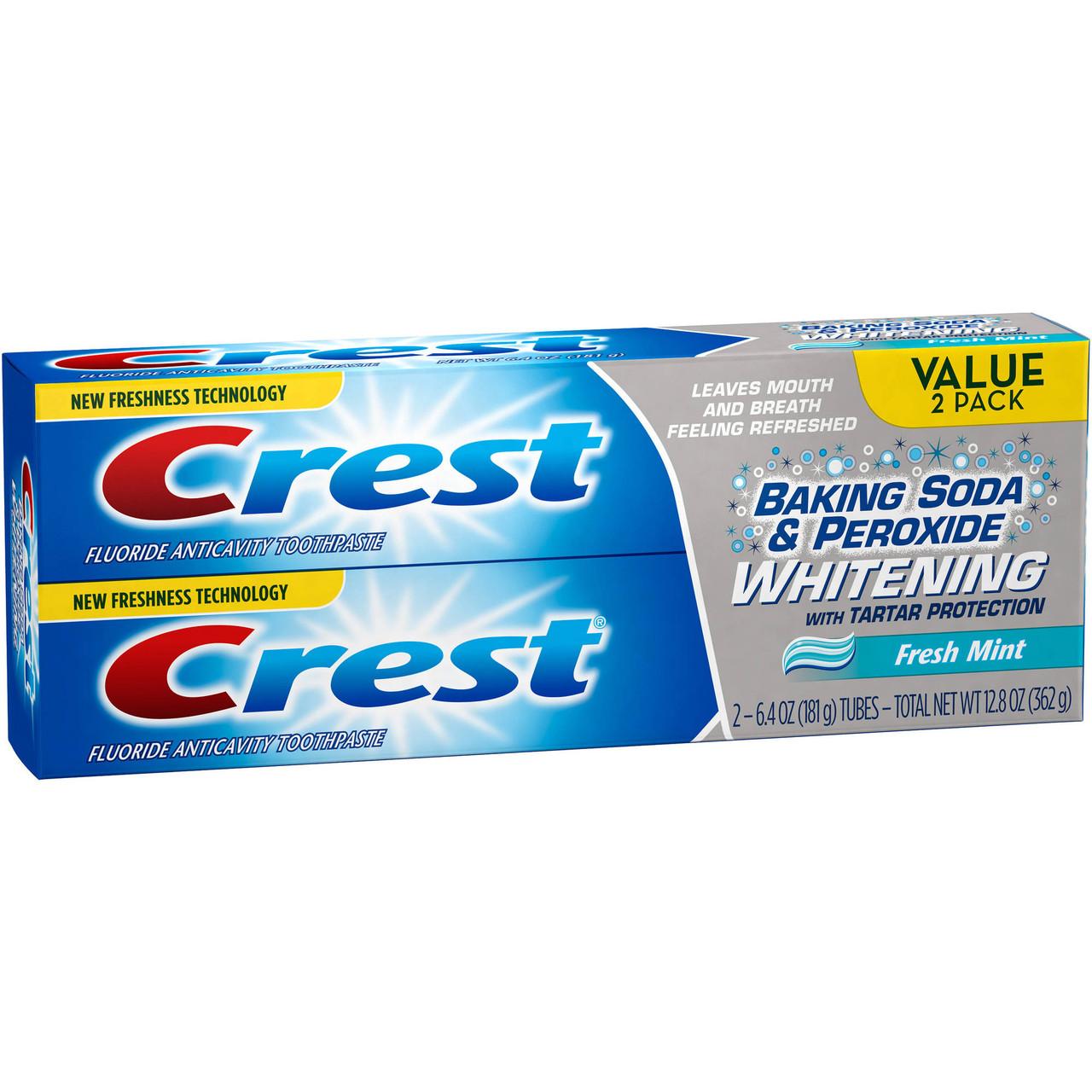Зубная паста Crest Baking Soda & Peroxide Whitenin - интенсивная отбеливающая зубная паста (2шт/уп, 362г)
