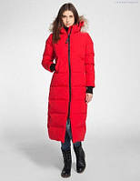 Куртка-пальто на молнии с капюшоном отороченным мехом