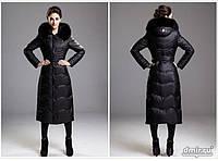 Куртка-пальто с капюшоном отороченным мехом песца