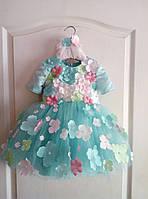 Шикарное праздничное платье на девочку с пышной фатиновой юбкой и декоративными цветами