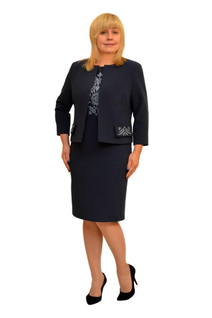 Платье+жакет с вышивкой т.синее - Модель Л269-2+Л284-2