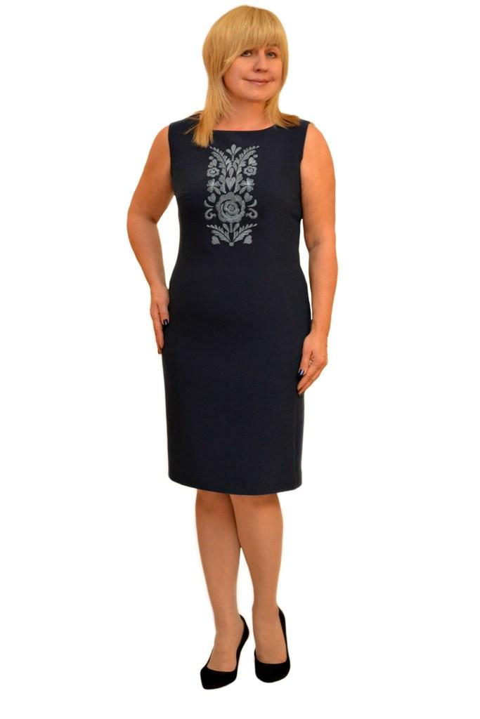 Платье с вышивкой т.синее - Модель Л269-2