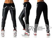 """Тёплые женские спортивные штанишки байка + синтепон """"Лампасы"""" в расцветках, фото 1"""