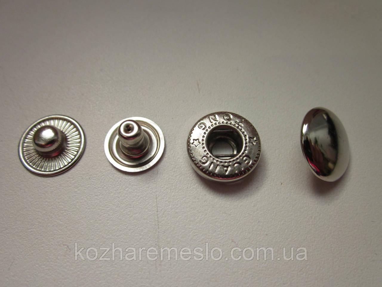 Кнопка альфа 15мм никель