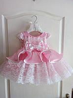 Детское бальное нарядное платье с пышной юбкой и кружевной отделкой