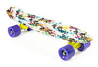 "Пенни Борд ""Клякса"" 22″ Фиолетовые Колеса / пенниборд скейт (penny board), скейтборд"