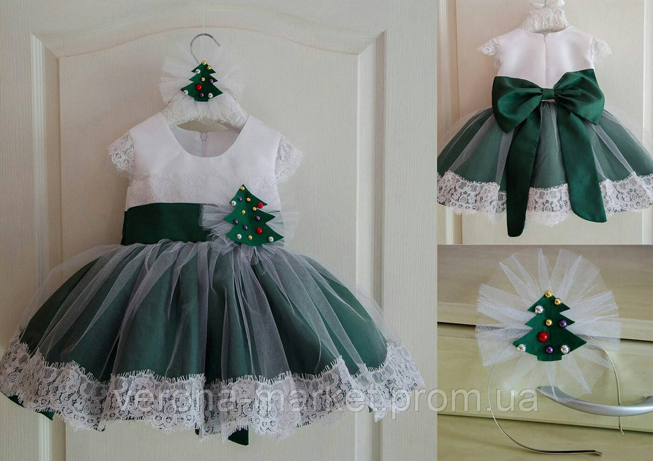 cadcd822d14 Карнавальное праздничное платье на девочку елочка с пышной юбкой и кружевной  отделкой