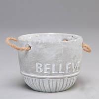 """Вазон из бетона для цветов """"Belleve"""" серый, набор 6 шт"""