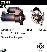 Стартер Peugeot 106  205  206  306  307  309  Partner  Berlingo  C-3  C-4  1.0  1.6  /1, 0кВт z9/  CA581