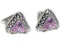 Серьги-Гвоздики с розовым камнем