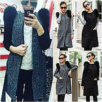 Кашемировое пальто-жилет со съемными рукавами и натуральным мехом 2в1