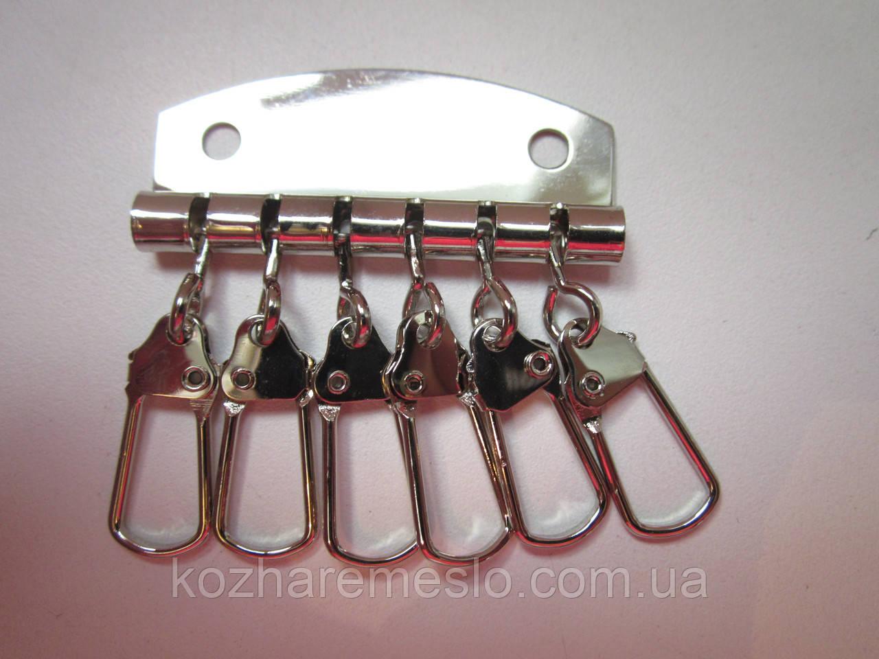 Ключница 6 карабинов никель