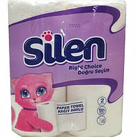 Полотенца бумажные Silen 32764100 белый целлюлозный 2-х слой. 11,4 м. 2 шт