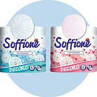 """Бумага туалетная Soffione 65755 (65756) белый 2-х слой """"Dekoro"""" 4рул"""