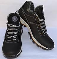 Мужские зимние кожаные ботинки, черные, низкие