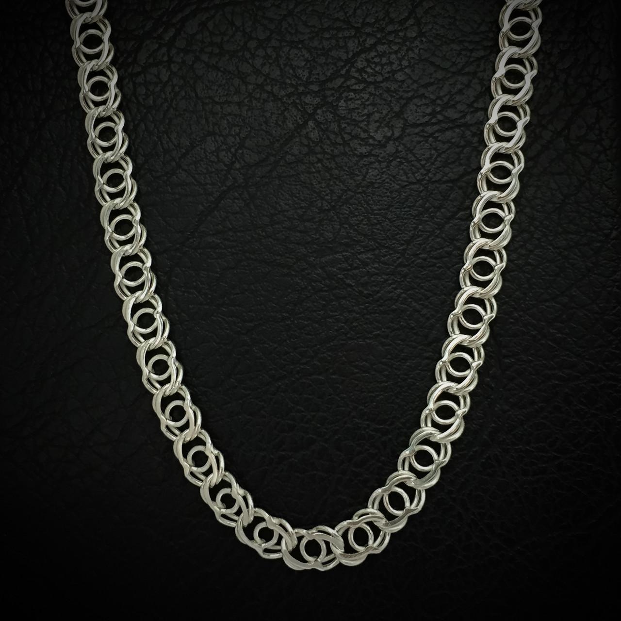 Серебряная цепочка, 500мм, плетение Арабский бисмарк, 24 грамма, светлое серебро