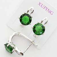Серьги Xuping родий зеленый камень цирконий с19
