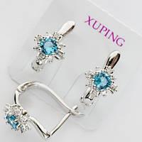 Серьги Xuping родий звездочка голубой камень с24