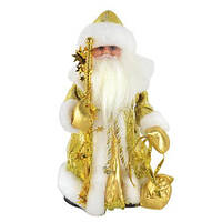 Новогодняя игрушка Дед Мороз золотистый музыкальный