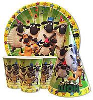 """Набор для детского дня рождения """" Барашек Шон """" Тарелки -10 шт. Стаканчики - 10 шт. Колпачки - 10 шт."""