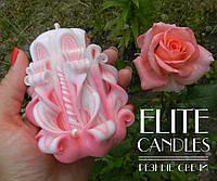 Свеча резная, ручная работа, нежной розовой раскраски на подарок или сувенир, 9 см высотой