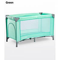 Манеж кроватка Caretero Basic - green, боковой лаз+ сумка переноска