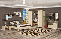 Кантри набор для спальни 4Д (Мебель-Сервис)  дуб молочный + ривьера трюфель