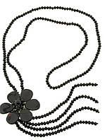 Бусы из натурального агата с черным цветком