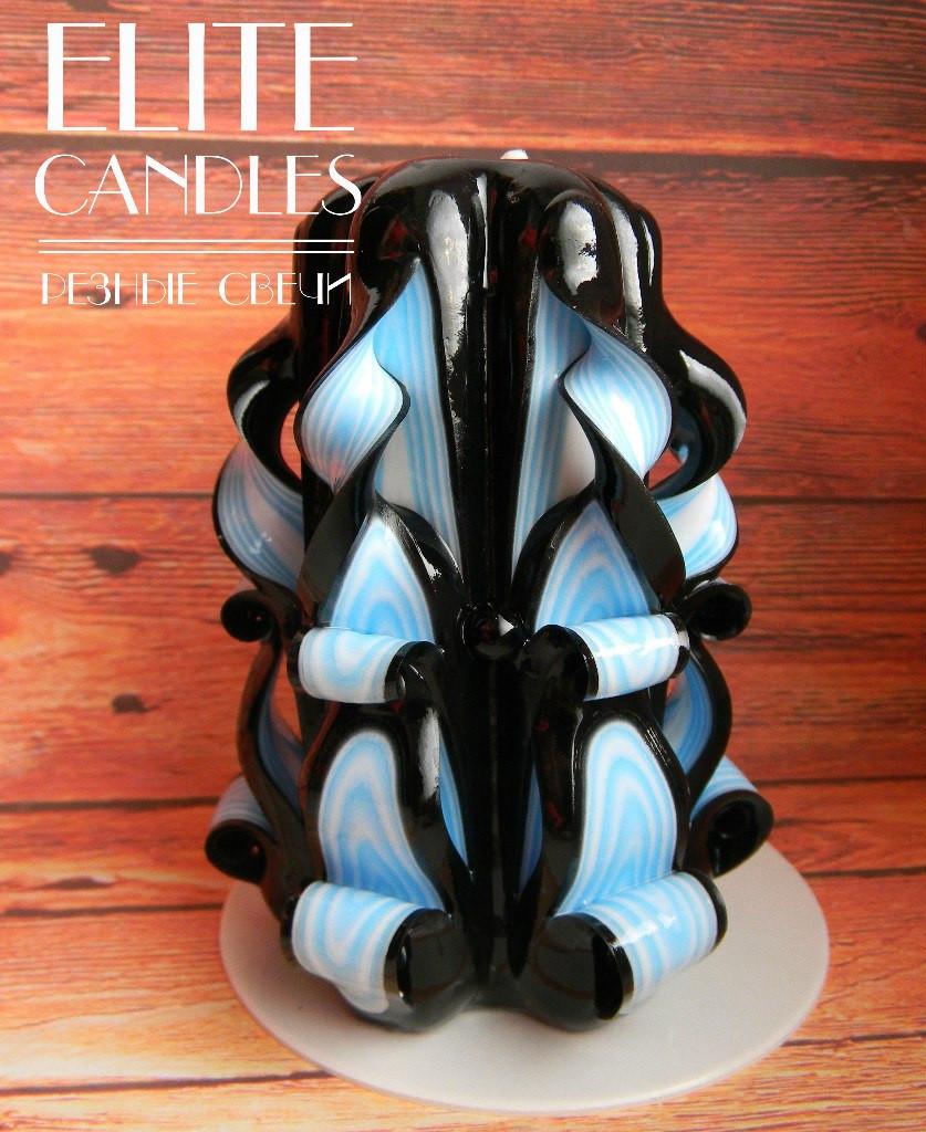 Резная свеча черно-голубого цвета, 12 см высотой, ручной работы на подарок