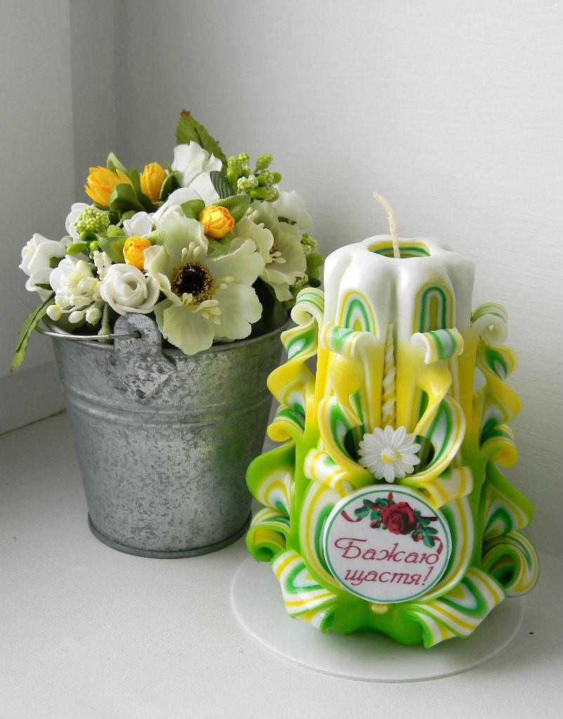 """Резная свеча с надписью """"Бажаю щастя!"""" 14см высотой, на подарок"""