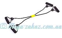 Эспандер для фитнеса Икс, длина 90см: резиновый жгут, диаметр 7мм