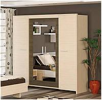 Кантри шкаф 4Д (Мебель-Сервис)  дуб молочный + ривьера трюфель 2218х628х2138мм