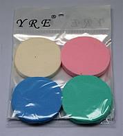 Спонжики круглые цветные 4 шт в упаковке SP-04, YRE