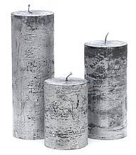 Свеча цилиндрическая 15см, цвет - серебро