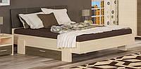 Кантри кровать 160 (Мебель-Сервис)  дуб молочный + ривьера трюфель 2117х1716х923мм
