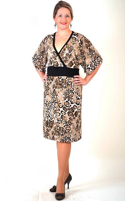 Платье  трикотажное с тигровым принтом  кимано ПЛ 662423