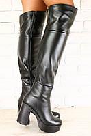 Зимние ботфорты на устойчивом каблуке, кожа