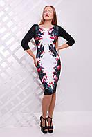 Женское платье по фигуре с красивым принтом Цветы-птицы сукня Лоя-3Ф д/р