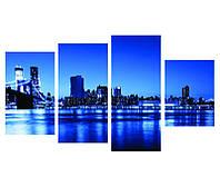 Сегментная 4- модульная картина THE BROOKLYN BRIDGE. BLUE GLAD
