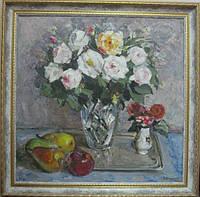 """Картина """"Натюрморт с белыми розами и фруктами"""". Шаркевич В.Д. 1970-е гг."""