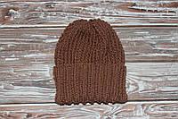 Мужская вязаная шапка полушерсть коричневый цвет ручная работа