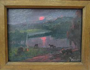 Картина Вечерний пейзаж автор Кизенко Н.М. 1970-е гг