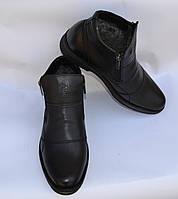 Мужские модельные зимние кожаные ботинки, KARAT, черные, на две змейки, танкетка