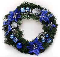 Новогодний венок из искусственной хвои (синий), 40 см