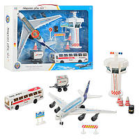 Аэропорт 747-26 A трансп2шт,инер-й,прицеп,диспет.вышка,дор знак,звук,свет,в кор-ке,51-39-11см